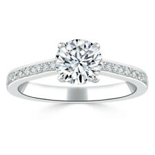 2.00 Ct VVS1 Round Cut Diamond Engagement Wedding Ring White Gold Finish Rings