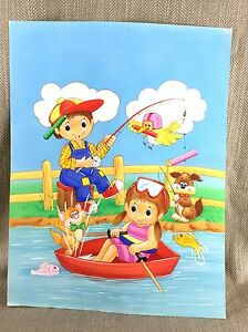 1990 Originale Illustrazione Art per Bambini Libro Pittura Luminoso Colorato