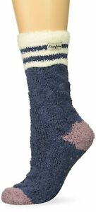 Dearfoams Women's 247892 Cable Knit Cozy Slipper Sock Navy 2 Pair Size One Size