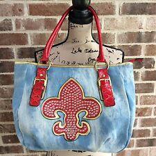 Large Tote Bag Fleur-De-Lis  Denim Bling Satchel Purse Handbag Hananel