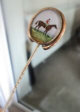 Vintage HORSE & JOCKEY Racing Stick / Stock Pin / Brooch - Hand Painted on Glass