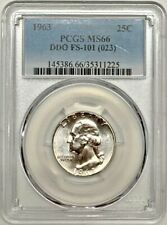 1963 Washington Quarter PCGS MS66 DDO FS-101 Silver Variety Registry Coin