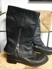 BCBG Generation Black Leather Foldover Zipper Detail Mid Calf Moto Boots~7.5M