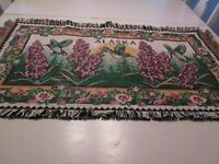 """Tapestry Woven Alaska Wall Hanging Fringe Humming Birds 38"""" Wide 21"""" Tall Floral"""