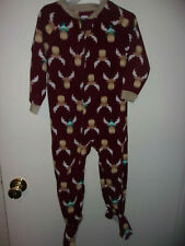 BOYS MOOSE FOOTED PAJAMAS FALL WINTER SIZE 3T  BRGUNDY