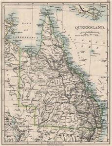 QUEENSLAND. State map Brisbane Gold Coast Railways. Australia. JOHNSTON 1900