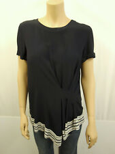 249€ NEU RR RIANI Designer Blusenshirt Shirt Gr.38 Tunika Top Dunkelblau Creme