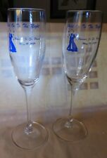 2 Vintage Arcoroc Clear Champagne Flutes Hanover MAss Jr-Sr Prom May 19 1989