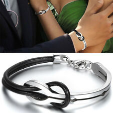 Love Infinity Stainless Steel Buckle Men Women Leather Bracelet Cuff Bangle Gift