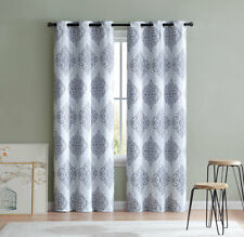 "2 Blackout Window Curtains Gray Medallion Panel Pair Grommet Drapes 84"""