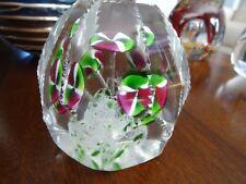 Antique CZECH Bohemian Glass Morning Glories Paperweight Zipper Faceted 1920's
