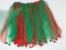 ~*~6 CHRISTMAS GREEN/RED TUTU WITH BELL~*~BALLERINA