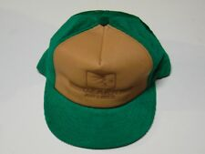 Ozark Airlines LEATHER cap ball cap hat vintage 1970's corduroy FREE SH in BOX