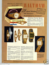 1957 PAPER AD 4 PG Waltham Wrist Watch 25 Jewel Yorktown Captain Kidd Bostonian