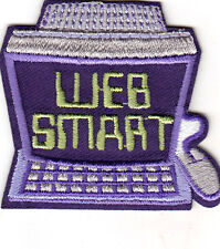 """WEB SMART"" - Iron On Embroidered Patch - ON LINE - THE WEB - GAMES - INTERNET"