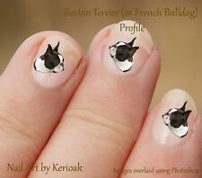 Boston Terrier, Profile, French Bulldog, Dog Nail Art Stickers Decals