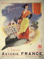 PUBLICITÉ 1943 CHAPEAUX ANTONIN FRANCE LA PROVENCE CHAZELLES SUR LYON