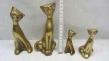 Messing Katze Katzenfamielie massiv Messingfiguren Dekoration