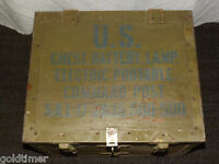 VINTAGE WWII  US CHEST BATTERY LAMP PORTABLE COMMAND POST WOOD METAL BOX