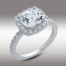 3.16 Ct Cushion Cut Engagement Ring Halo w Accents 14K Solid Gold No Reserve New
