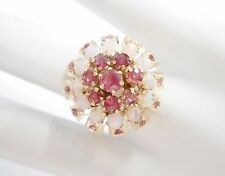 Vintage 18k Yellow Gold Ruby & Cabochon Opal Cocktail Ring Sz 6 #2657