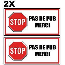 2x Autocollant Boite Aux Lettres Sticker STOP PAS DE PUB MERCI 4x8 cm Etiquette