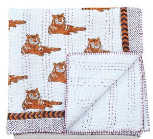 Indian Kantha Work Baby Quilt Cotton Coverlet Nursery Blanket Toddler Bedspread