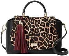 NEW Kate Spade Leopard Haircalf Leather Purse Crossbody Black Calf Hair Satchel