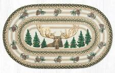 Braided Jute Stenciled Print Oval Patch Area Rug. Earth Rugs. Bull Moose