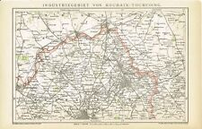 Karte FRANKREICH: ROUBAIX / TOURCOING / LILLE 1895 Original-Graphik