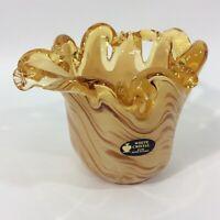 White Cristal Amber Swirl  Art Glass Vase Bowl Candleholder Made In Italy
