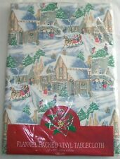 Vintage 90's - Christmas Holiday Vinyl Flannel Backed Tablecloth - Nos