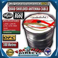 Foxtel Austar Approved RG6 100m Quad Shield 75 OHM COAX DIGITAL TV Antenna Cable