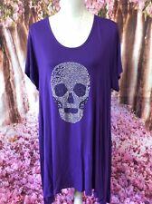 Ladies Plus Size Skull Top Purple 26-28
