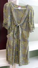 ANTHROPOLOGIE Yoana Baraschi Grey Yellow 100% Silk Front Tie Dress Sz M