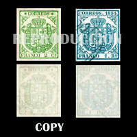 SPAIN 1854 EDIF 32A&34A USED  NE COATS OF ARMS, LUXURY REPRODUCTIONS  COPY