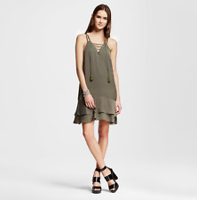 NEW Women's Mossimo Polyester Above The Knee Shift Dress Olive Green Size XS
