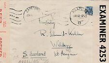 Enveloppe CAPETOWN (Afrique du Sud) pour SUISSE - Censored  WW II EXaminer 4253