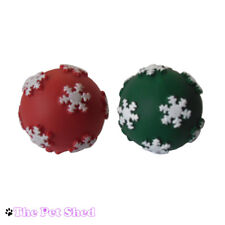 Dog Puppy Pet Play Fetch Bite Chew Chase Squeaky Christmas Xmas Vinyl Ball Toy
