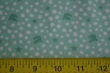 By 1/2 Yd, White on Sea-Green Quilting Cotton, Moda/Spain/Joy/27126-14, B1058