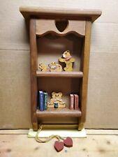 "Wood Wall Shelf with Novelty Wood Figurines 16.5"" by 9.5"""