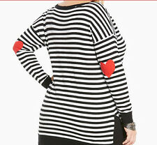 New Torrid Plus Size Black White Striped Red Heart Patch Sweater in Size 5 5X