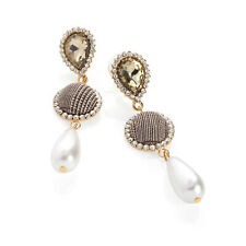 Ladies Gold Colour Crystal White Pearl Effect Check Print Drop Earrings