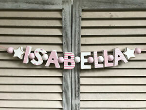 """""""ISABELLA"""" PINK WOODEN LETTERS BABYNAME NURSERY DECOR PERSONALIZED BABY NAME"""