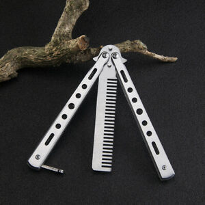 Butterfly Balisong Trainer Training COMB Knife Tool SILVER Metal Practice