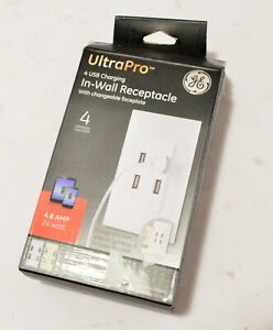 GE ULTRAPRO 4 USB CHARGING INTERCHANGEABLE FACE PLATE IN-WALL RECEPTACLE