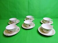 Poole Pottery Hand Painted Large Breakfast Cups & Saucers x 6