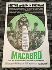 MACABRO Original One-Sheet Poster 1966 Horror Documentary VG+