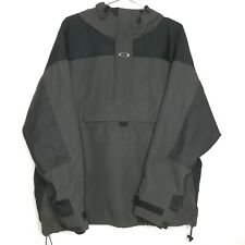 Oakley SoftWare Jacket Black Gray 1/2 Zip Pullover Hooded Mens Size Large