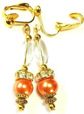Gold Peach Glass Pearl Bead Clip On Earrings Drop Dangle Antique Vintage Style
